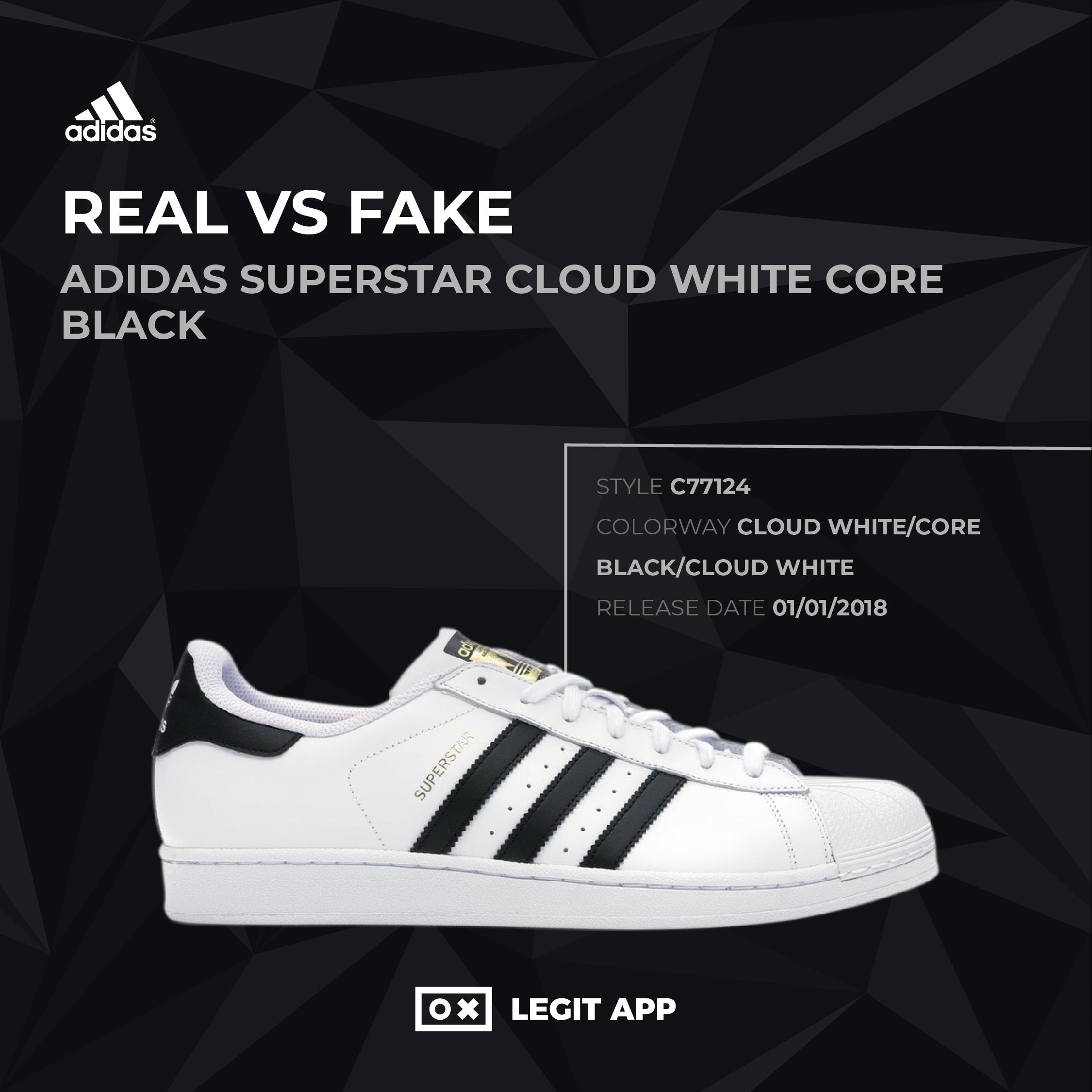 profesor No puedo leer ni escribir Dedos de los pies  REAL VS REPLICA - adidas Superstar Cloud White Core Black | LEGIT APP